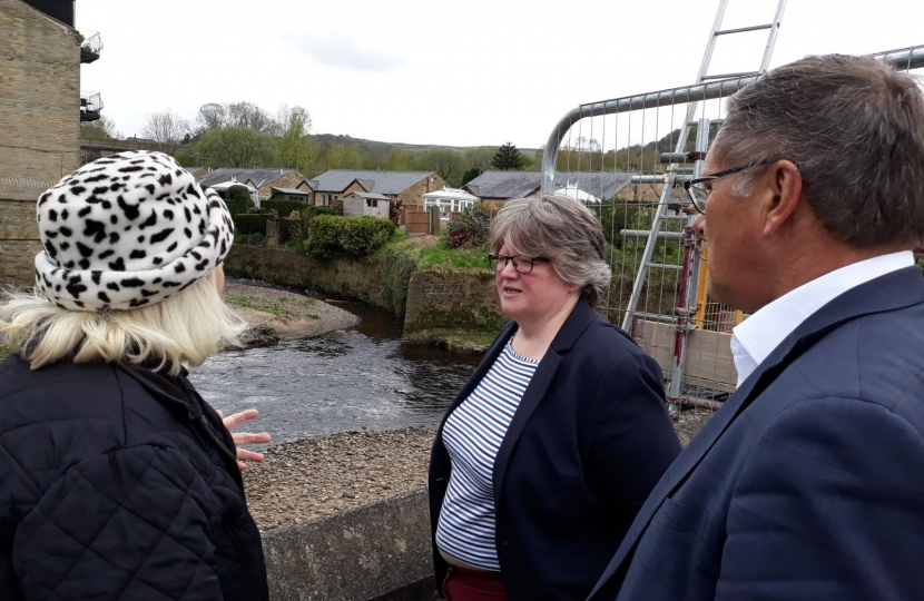 Monitoring progress on the Mytholmroyd flood works with the Floods Minister