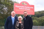 Cllr Steven Leigh MBE, Cllr Geraldine Carter with Craig Whittaker MP outside Ripponden Junior and Infant School.